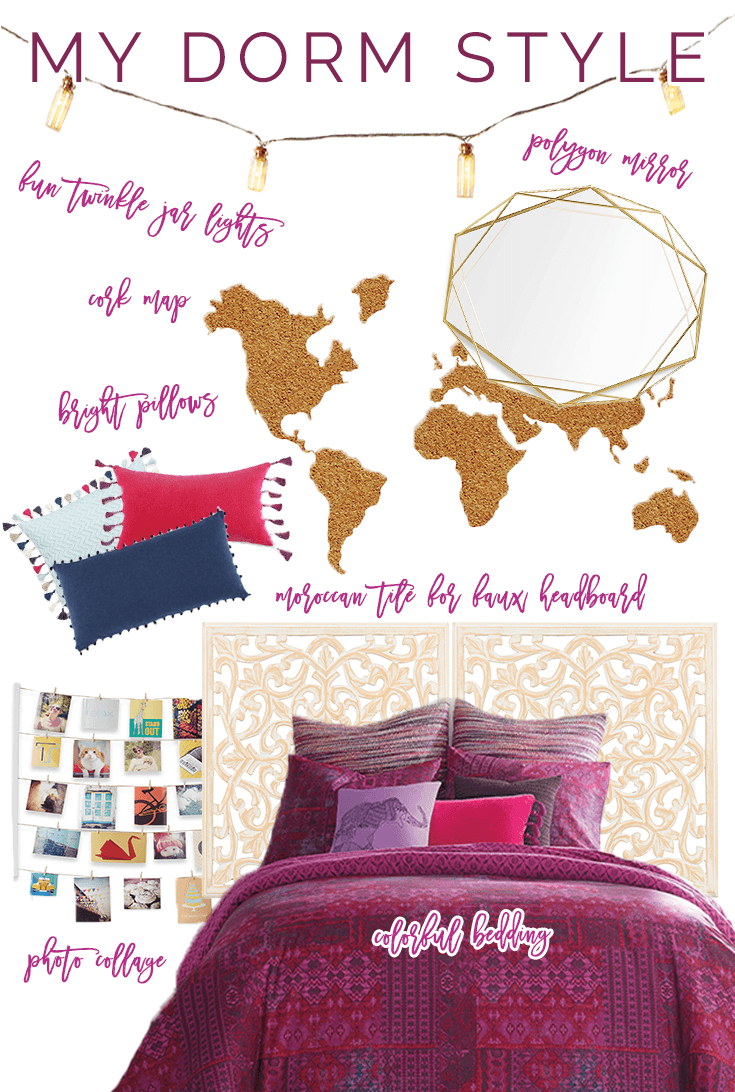 My dorm style is colorful, feminine, and fun!   Sara Laughed #ad #BedBathAndBeyond